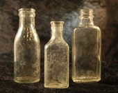 Vintage Apothecary Bottle Set (Lot of Three) Medicine and Milk