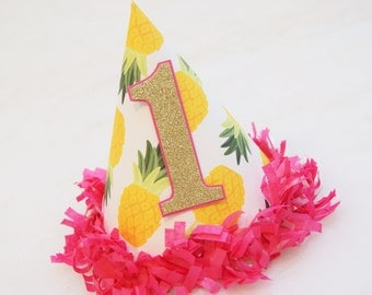 NEW Pineapple Party Hat with Gold Glitter Number - hot pink tissue fringe trim, pineapple birthday, tropical party, gold and pink party