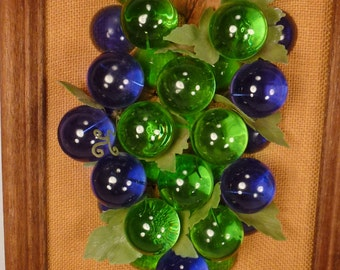 LUCITE GRAPES blue green Mounted assemblage Framed  1950s app 22 x 11 x3 inl