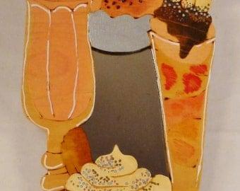Handcrafted MIRROR Summer treats ice cream cones colorful fun ready to hang app 14x8 in