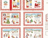 "Clearance FABRIC STORYBOOK CHRISTMAS The Fabric Book or use for Blocks on White 34"" panel"