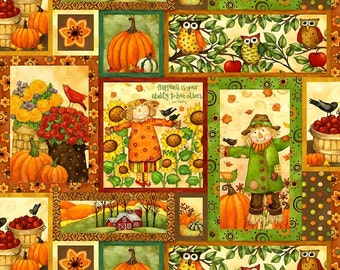 Clearance FABRIC Grateful HARVEST Time Fall HALLOWEEN Blocks 1/2 Yard