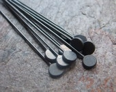 10 Sterling Silver Handmade Paddle Headpins - BLACK OXIDIZED - Available in a Variety of Lengths and Finishes