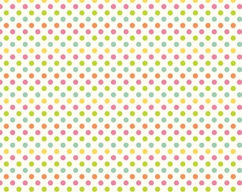 Riley Blake Small Polka Dots on Cream ~ Multi girl colors ~ 100% cotton by the yard