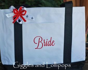 Personalized tote bag bride wedding teacher bridesmaid boat bag