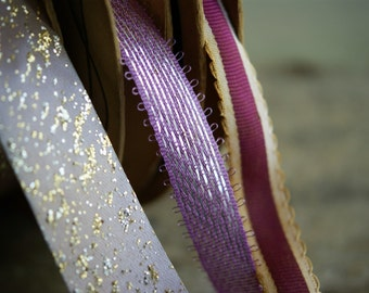 Vintage Ribbon Spools in Shades of Lavender and Mauve with Metallic Threads, Crafting Supply, Corsage Making