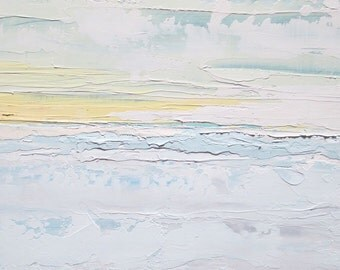 Abstract sky painting: Heavenly, original oil painting, up in the clouds, sunny skies, dawn, horizons