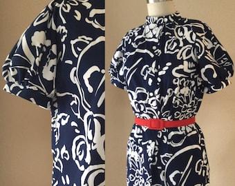 Vintage Blue and White Asian Cut blouse. 60's vintage top, puff sleeve