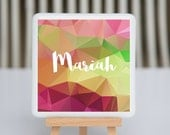 Coaster - Fused glass - personalized with name - pink purple green yellow geometric