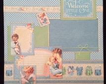Baby Boy Scrapbook Page, Premade Album Page, Single Scrapbook Page, Graphic 45 Precious Moments Baby Boy Scrapbook Layout Page, New Baby