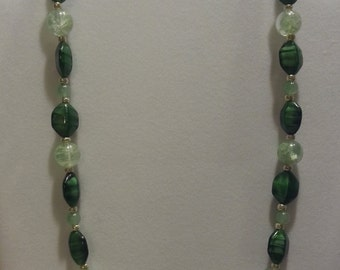 V013 Green Banded Glass Bead Necklace