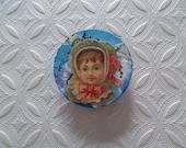 Sweet Blue Little Girl Fridge Magnet  -- But Is She Really Sweet?