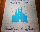 Handpainted Castle and Monogram Wedding Aisle Runner (You pick the colors and size!)