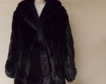 Monterey Fashions made in USA faux fur rich black jacket coat med/14