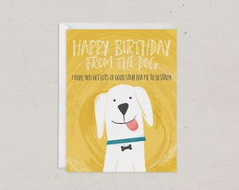 Birthday From Dog Card | Greeting Card