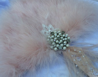 Blush Champagne Marabou Ostrich Feather Fan for Vintage Great Gatsby, 20s weddings