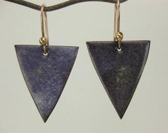 Speckled Purple Enameled Earrings