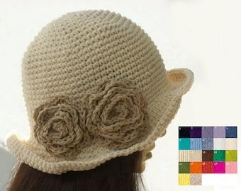 Flower Sun Hat, Custom - Choose Color, Spring Hat, Cotton Wide Brimmed Hat, Crochet  Hat, Summer Hat, Vegan Hat