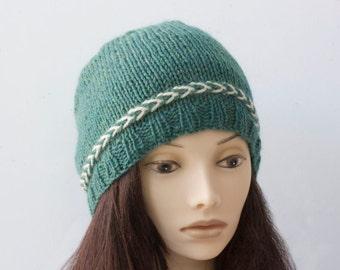 Hand Knit Hat, Heather Green Hat,  Winter Hat, Women's Beanie Hat, Warm Wool Hat,  Knit Cap, Ready to Ship