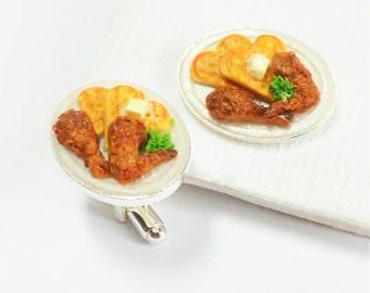 Chicken and Waffles Cufflinks - Fast Food Cuff Links - Miniature Food Art Jewelry - 100% Handmade by Schickie Mickie