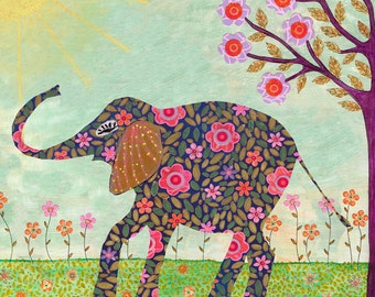 Sunny Elephant Art, Elephant Painting - Indian Elephant,  Kids Wall Art Decor, Elephant Nursery, Animal Painting, Childrens Room Art