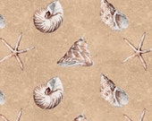 Sand and Sea Wilmington Prints Shells Allover Sand 86402-212 Cotton Quilt Fabric 1/2 yd cut