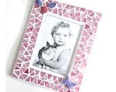 Pink Lavender Mosaic Frame, Mosaic Frame, Handcut Mosaic Photo Frame, 3.5 x 5 Butterfly Frame, Pink Purple Mosaic Frame, Mosaic Tile Frame