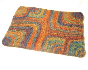 Rainbow Squares Felt Place mat knitting Pattern pdf