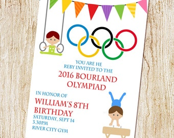 olympic gymnastics party invitation - olympic birthday party - summer olympics invitation - digital file or printed