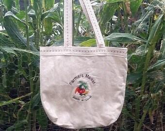 Farmers Market Tote Bag, Handmade Bag, Reusable Produce Bag, Embroidered Grocery Bag, Cotton Tote, Muslin Fabric Bag 14 X 2.5 x 13 inches