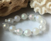 Palest Opal Shimmering Sea Pearl Rounds Handmade Lampwork Glass Beads SRA