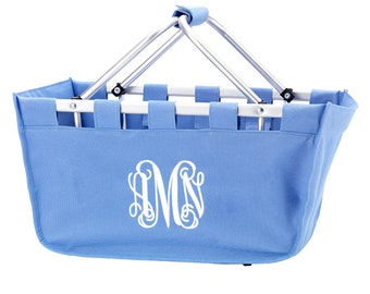 SALE- Personalized Large Market Tote - Solid Colors,  Carry All Basket Monogrammed, Embroidered Market Tote