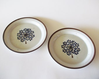 Dansk Linden Blue Dandelion Salad Plates, Niels Refsgaard, Made in Denmark, Set of 2, 1970s