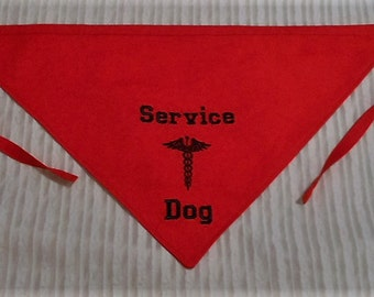 Service Dog with Mecical Insignia in TIE Style Dog Bandana Sizes S to XL Choice of Fabric
