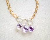 Lilac Blooms Necklace - ametrine gemstone necklace, mixed metal circle necklace, mixed metal ametrine necklace, pale purple handmade jewelry