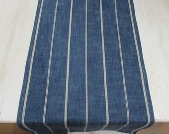 FRENCH LAUNDRY rustic prewashed blue  Tablerunner