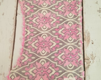 Pink Damask Minky  Burp Cloth