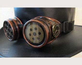 Steampunk Goggles Burning Man Cosplay Halloween Aviator Time Traveler Antiqued Copper w/Clock Face ~ Shannon Dockery Bakos