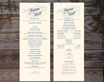 Printed wedding programs, wedding ceremony programs, formal wedding program, wedding programs, elegant wedding programs, calligraphy program