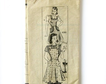 1940s Vintage Sewing Pattern - Anne Adams 4285 - Pinafore Apron with Rick rack Trim / Medium 36-38 Bust