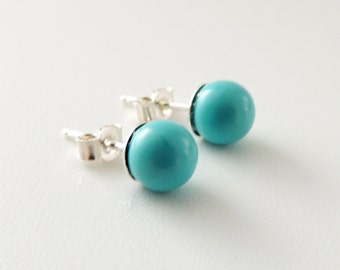 Turquoise Stud Earrings -- Round Blue Stone Beads -- Genuine Turquoise -- Sterling Silver Posts -- UK