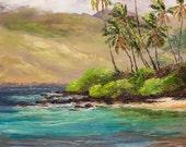 PALAUEA BEACH MAUI 20x16 Original Oil Painting Art Tropical Palms Hawaii Ocean Paradise Hawaiian Palm Trees Mountains Sailboat Tropics Relax