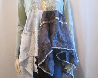 Lagenlook Tunic Distressed Paisley Floral Print Boho Eco Chic Recycled Sage and Brown with Gold Leaf S-M