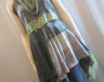 Lagenlook Tunic Dress Gypsy Boho Upcycled Emerald and Sage Crushed Velvet with Vintage Lace Layered Flowing Size S - M