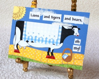 Original Mixed Media Collage Art Card, ACEO cow card, from The Wizard of OZ
