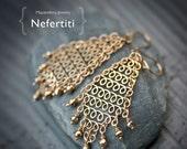 Nefertiti - Brass Chain Maille Chandelier Earrings
