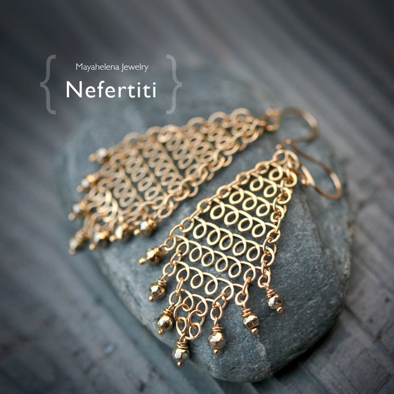 Nefertiti - Brass Chain Maille Chandelier Earrings