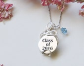 Graduation Necklace, Personalized Necklace, Graduation Gift, Gift for Graduation, Student Gift, Class of 2016, Birthstone Necklace