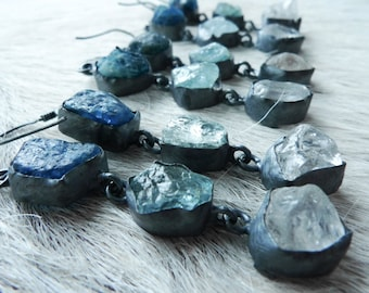 SALE Aquamarine earrings | Raw crystal earrings | Apatite earrings | Multistone earrings | Raw quartz earrings | Rough stone earrings