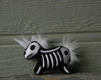 Unicorn Skeleton machine embroidered